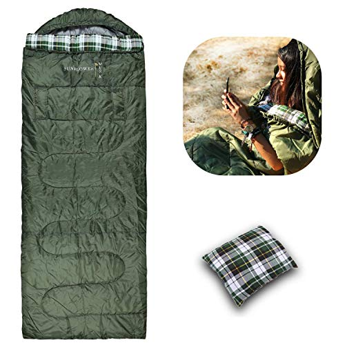 Sunflower Musk 4 Season Wearable Sleeping Bag – Arm Openings and Feet Extensions – Great for Camping, Outdoor, Sleepover, Hiking – Portable and Lightweight – Premium Acrylic Fiber Filling (Adult)