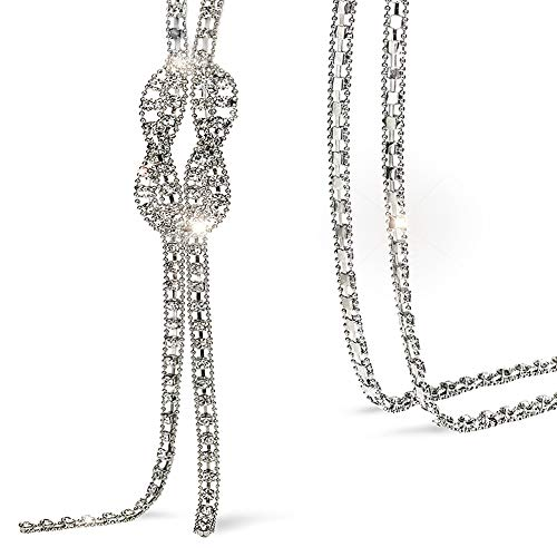 (Suyi Trendy Crystal Long Necklace All-Match Style Shining Clothing Sweater Chain Silver)