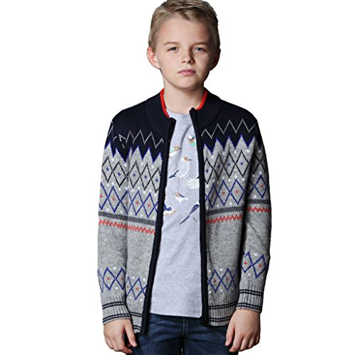 Leo&Lily Boys' Wool Blends Casual Pullover Cardigan Sweater 8 (Zipper Wool Sweater)