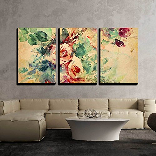 Watercolor Roses Painted on Beige Tone Paper x3 Panels