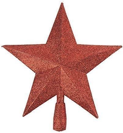 3d Glitter Star Albero Di Natale topper decorazione vari colori Red