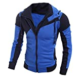 SINMA Men Retro Hoodie Casual Long Sleeve Double Zipper Sweatshirt Tops Coat Outwear (L, Blue)
