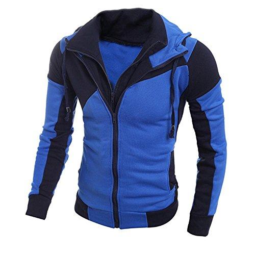 SINMA Men Retro Hoodie Casual Long Sleeve Double Zipper Sweatshirt Tops Coat Outwear (L, Blue) by Sinma