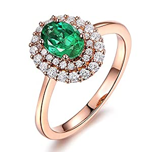 Fashion Unique Natural Emerald Gemstone with 0.48ct Diamond 14K Solid Rose Gold for Women Engagement Wedding Promise Band Set