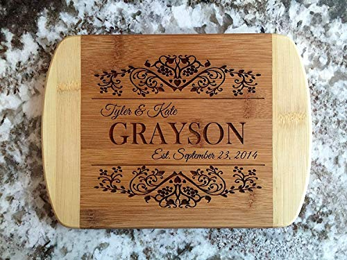 - Personalized Gifts Couples Cutting Board - Wood Cutting Boards Bridal Shower, Housewarming, and Wedding Gifts (6 x 8 Two Tone Bamboo with Curved Edges, Grayson Design)