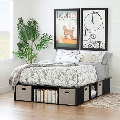 South Shore 12104 Flexible King Storage Bed with Baskets, Black Oak and Taupe