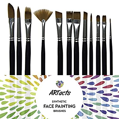 Art Paint Brush Set for Watercolor, Acrylics, Oil & Face Painting - by ARTacts--A Set of 12 Premium Quality Brushes Also Great for Kids
