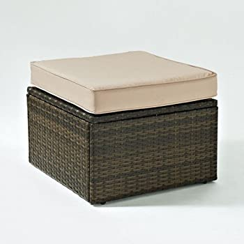 Perfect Crosley Palm Harbor Wicker Patio Ottoman With Sand Cushions
