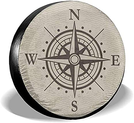 Kncsru Reserveradabdeckung Kompass Windrose Schwarz Wei/ß Anh/änger LKW Rv Gel/ändewagenabdeckungen Reise Universal 16 Zoll
