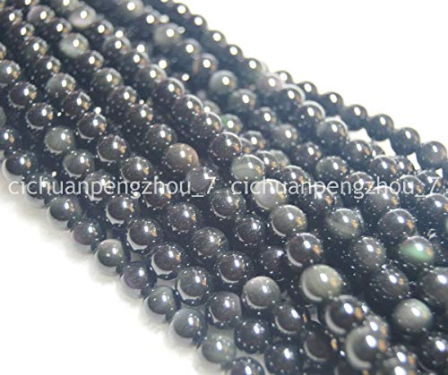 FidgetFidget Natural 10mm Black Rainbow Eye Obsidian Gems Round Beads Strand 15inch