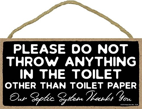 Please Do Not Throw Anything in The Toilet- 5 x 10 inch Hanging Funny Bathroom Sign, Wall Art, Decorative Wood Sign Home Decor, Toilet Sign
