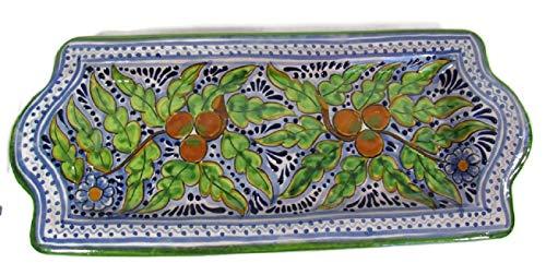 El Relicario de Los Tesoros Genuine Talavera Rectangular Tray Hand Made in Traditional Process Puebla, Mexico (Blue/Green/White Tray)