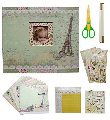 Mini Scrapbook Kit (idull Travel Scrapbook Kits 8x8 with Scrapbooking Supplies (Light Green, Eiffel Tower))