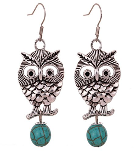 (Antiqued Silver Turquoise Crystal Wise Owl Dangle Earrings for Women Animal Jewelry)