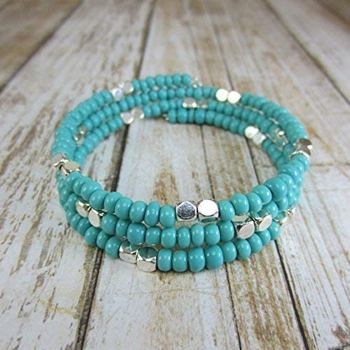 Turquoise Wrap Around Cuff Beaded Stackable Bracelets, Faux Turquoise and Silver Tone Jewelry