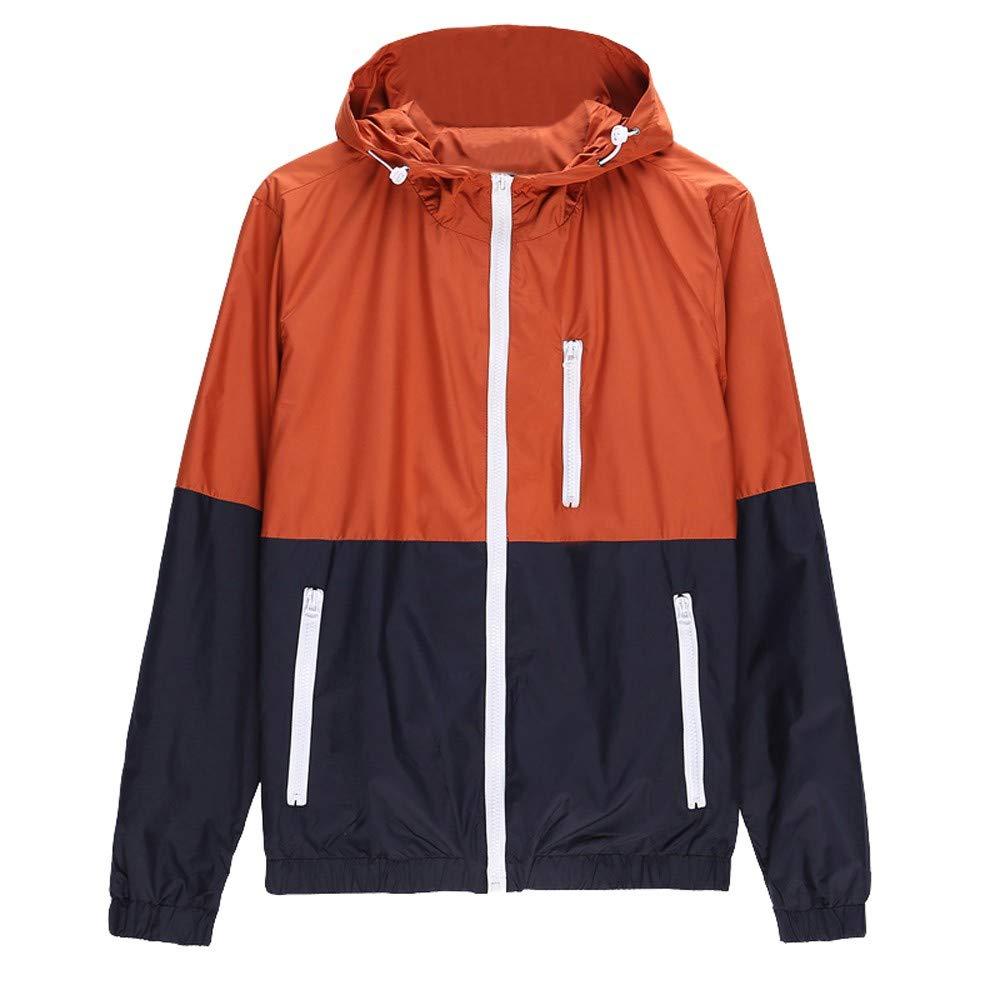 Shybuy Men Lightweight Hooded Long Sleeve Contrast Color Patchwork Front Zipper Jacket with Pocket (Orange, M)