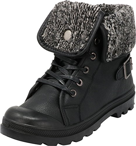 Cambridge Select Women's Closed Round Toe Sweater Knit Fold Over Lug Sole Combat Ankle Bootie,9 B(M) US,Black