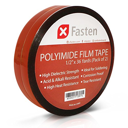 XFasten Polyimide Film Tape, High Heat Kapton Tape For 3D Printing Bed and Electronics Repair, 1/2-Inch by 36-Yard, Pack of 2, 7500V Dielectric Strength