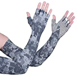 MCTi UV Protection Ice Cooling Sun Block Sunscreen Arm Sleeves Tatto Cover Long Gloves for Men Women Cycling Driving Running Golf Basketball Football Fishing