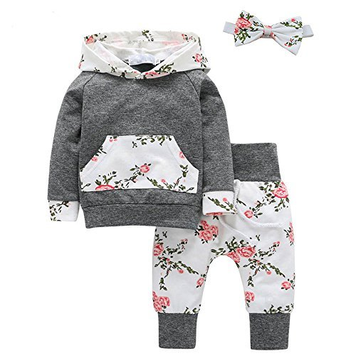 - Baby Girl Flowers Hoodie Tops Shirt+Long Pants with Headband Pant Sets Kangaroo Pocket Outfits 18-24M