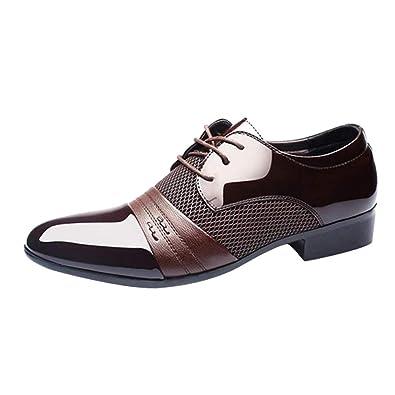 Ansenesna Schuhe Herren Business Braun Leder Anzug Zum Schnüren Elegant Freizeitschuhe Männer Mode Vintage Mit Absatz