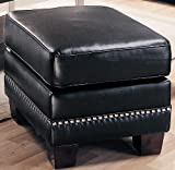 crate and barrel footstools Black Contemporary Leather Ottoman