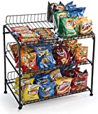 Displays2go Countertop Wire Rack, 3 Open Shelves â€'' Black (WCR3SBK)