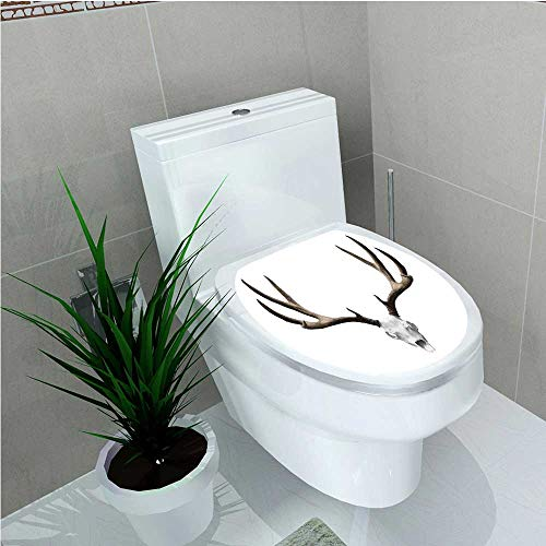 Toilet Seat Decal Vinyl A Deer Skull Skeleton Head Bone Halloween Weathered Hunter Collection W13 x L16 ()