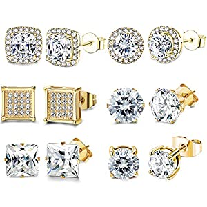 FIBO STEEL 6 Pairs Cubic Zirconia Stud Earrings Set for Women Girls Shining CZ Halo Square Round Earring Set Gold