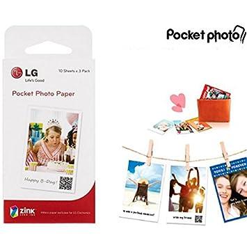 30 hojas papel fotográfico para LG PD239/PD239 bolsillo impresora ...