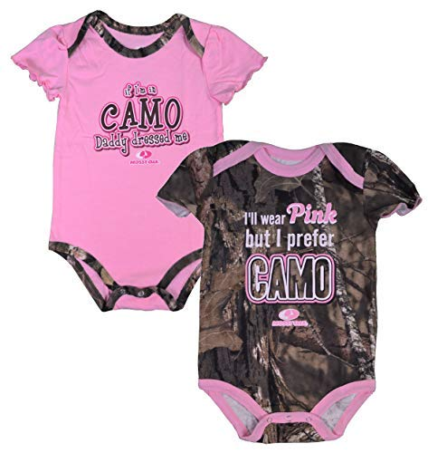 Mossy Oak Infant Baby-Girls 2-Pack CAMO Body-Suits (Pink/Camo Green) (24 ()