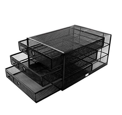Exerz Desk Organizer Wire Mesh 3 Tier Sliding Drawers Paper Sorter/Multifunctional/Premium Solid Construction for Letters, Documents, Mail, Files, Paper (Black EX3205)