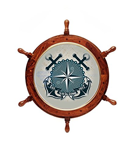 Handcrafted Nautical Ship's Wheel Poster Frame | Pirate's Decorative Wall Picture Frame | Maritime Wallpaper Photo Framework | Nagina International (18 - Handcrafted Pictures