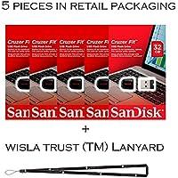 SanDisk Cruzer Fit 32GB (5 pack) SDCZ33-032G USB 2.0 Flash Drive Jump Drive Pen Drive SDCZ33-032G - Five Pack + Bonus Wisla Trust (TM) landyard