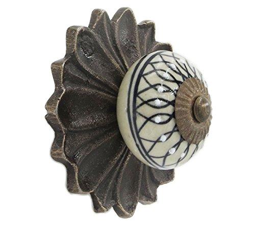 - Black Leaf Knob & Antique Metal Decorative Back Plate