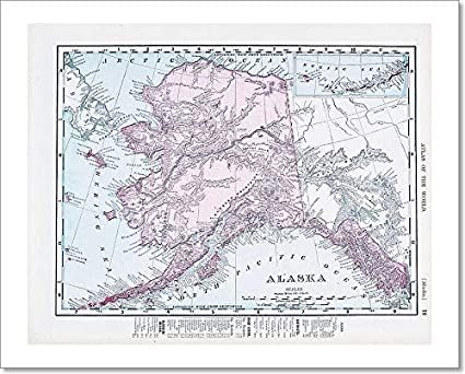 image regarding Printable Maps of Alaska identified as : Barewalls Antique Traditional Shade Map of Alaska