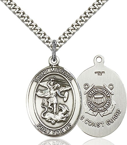 (Sterling Silver Saint Michael the Archangel Coast Guard Medal Pendant, 1 Inch)
