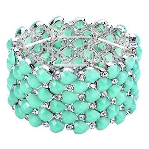 BriLove Women's Bohemian Boho Crystal Bubble Beaded Multi Heart Shape Round Stretch Cuff Bracelet Green - Crystal Shape Bracelet Multi