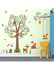 DECOWALL SG-2106 Scroll Tree with Animals Kids Wall Stickers Decals Peel and Stick Removable for Nursery Bedroom Living Room art murals decorations