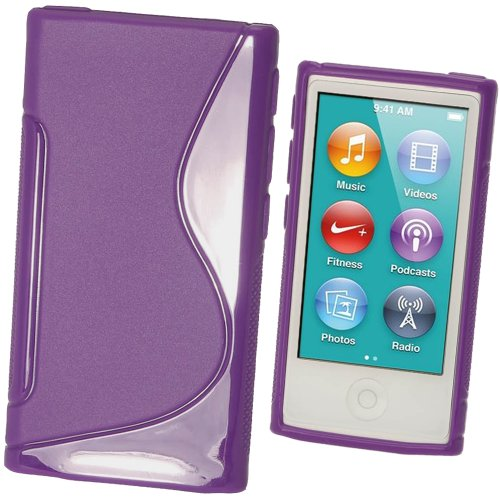 Case Crystal Generation Rubber (iGadgitz Dual Tone Purple Durable Crystal Gel Skin (TPU) Case Cover for Apple iPod Nano 7th Generation 7G 16GB + Screen Protector)