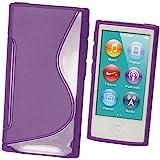 igadgitz Dual Tone Purple Durable Crystal Gel Skin (TPU) Case Cover for Apple iPod Nano 7th Generation 7G 16GB + Screen Protector