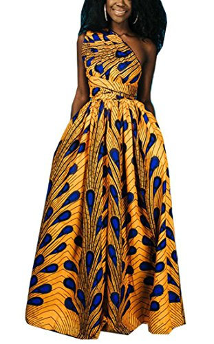 Pockets Yellow Sexy African Print Dashiki Maxi Party Backless Swing Dress Women Domple xfX6y