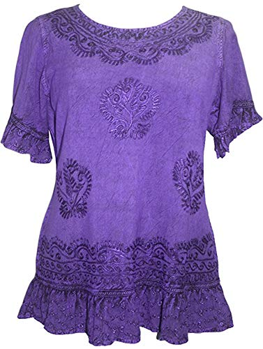 Agan Traders 142 B Medieval Peasant Bohemian Ari Blouse Top (Large, Purple)]()