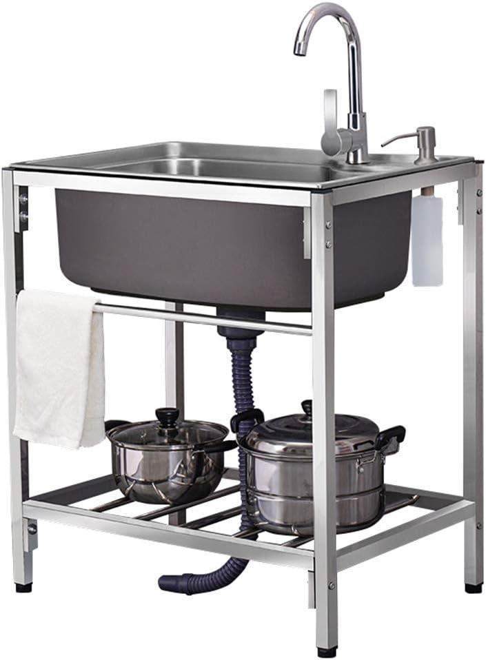 YJKDM Fregadero de Cocina Fregadero de un Solo Lavabo de Acero Inoxidable 304 Comercial, con Grifo, fácil de Limpiar y Fortalecer la Carga, 60X45X77cm