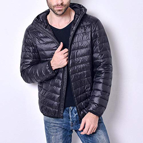 Long Stuffable Down Hooded Zipper Coat Jacket Jacket Winter Fashion with Lightweight Schwarz Brands Outerwear Men's Puffer BOLAWOO Sleeve zxqUXU