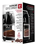 Chefman Coffee Grinder Electric Burr Mill - Freshly Grinds Up to 2.8oz Beans, Large Hopper with 17 Grinding Options for 2-12 Cups, Easy One Touch Operation, Cleaning Brush Included, Black
