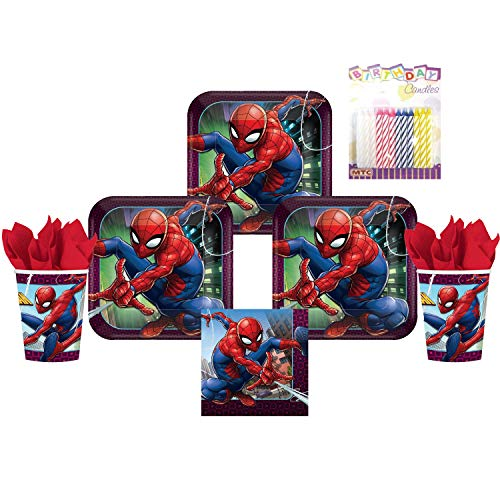 Spiderman Webbed Wonder Party Plates Napkins and Cups Serves 16 with Birthday Candles - Spiderman Party Supplies Pack Deluxe (Bundle for 16)]()