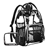 LOKASS Large Clear Backpack Transparent PVC Multi-Pockets School Backpacks/Outdoor Backpack Fit 15.6 Inch Laptop Safety Travel Rucksack with Black Trim-Adjustable Straps & Mesh Side(Black)