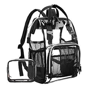 d66f76ed14 Amazon.com  LOKASS Large Clear Backpack Transparent Multi-Pockets ...