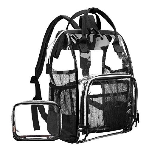 LOKASS Large Clear BackpackTransparent PVC Multi-Pockets School Backpacks/Outdoor Backpack Fit 15.6 Inch Laptop Safety Travel Rucksack with Black Trim-Adjustable Straps & Mesh Side(Black) by LOKASS